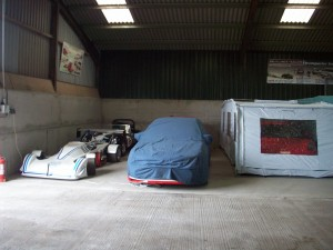 Race cars in storage